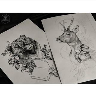 tatto,手画纹身,纹身手稿