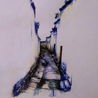 空巷,速写,风景,圆珠笔