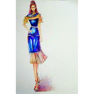 服装设计,插画,鱼尾裙,手绘,水彩